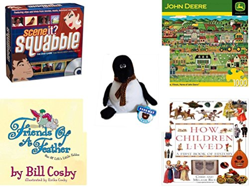 Childrens Gift Bundle - Ages 6-12 5 Piece - Scene It Squabble - Home of John Deere Puzzle 1000 Piece Puzzle - Parkway Toys Penguin Plush 9 - Friends of a Feather One of Lifes Little Fables Ha