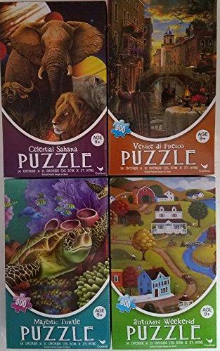 CARDINAL PUZZLES SET OF 4 X 500 PIECE PUZZLES MAJESTIC TURTLE AUTUMN WEEKEND VENICE AL FRESCO CELESTIAL SAHARA