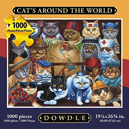 Jigsaw Puzzle - Cats Around the World 1000 Pc By Dowdle Folk Art