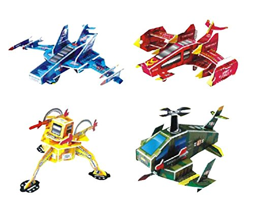 Set of 4 Creative 3D Plane Jigsaw Puzzles Educational Toys Assembling Puzzles