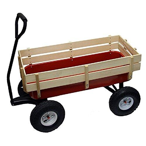 All Terrain Wagon Big Wheel Garden Red Steel Full Size Wood Cargo Sides Kids Childrens
