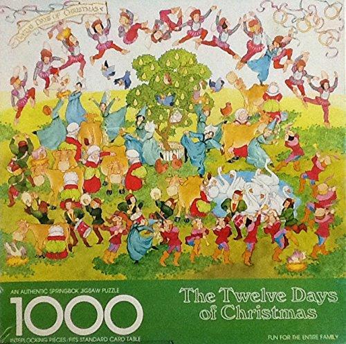 Twelve Days of Christmas Vintage Springbok Holiday Christmas Puzzle ~ 1000 Piece ~ 1980s