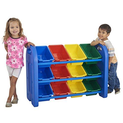 ECR4Kids 3-Tier Toy Storage Organizer with Bins Blue with 12 Assorted-Color Bins GREENGUARD Gold Certified Toy Organizer and Storage for Kids Toys Kids Toy Storage