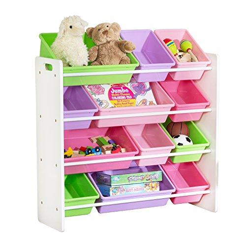 HoneyCanDo Kids Toy Storage Organizer With Bins Pastel
