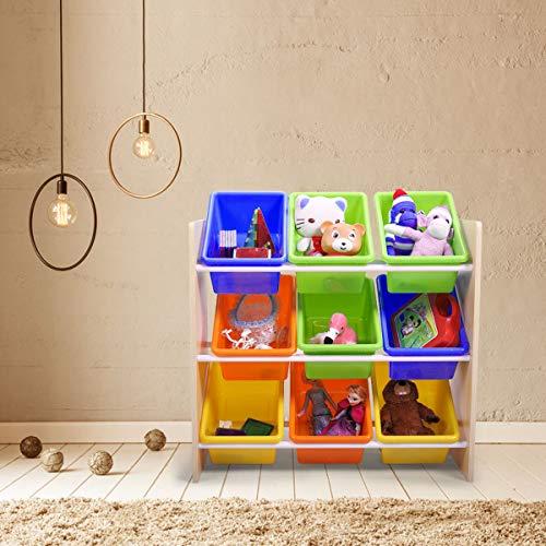 Kids Multicolored Toy Storage Organizer with 9 Plastic Bins Kids Furniture