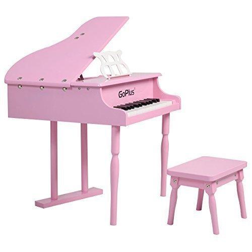 GoplusChilds 30 key Toy Grand Baby Piano w Kids Bench Wood Pink New