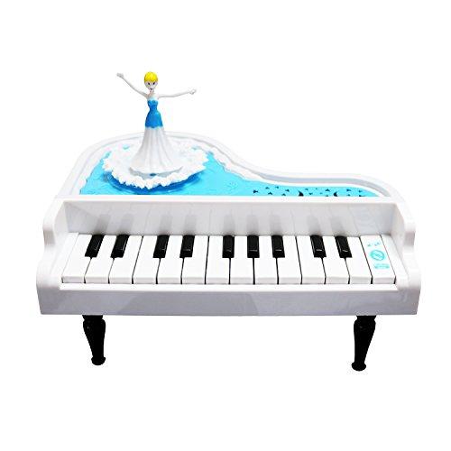 Little Princess Kids PianoSanmersen Mini 14 Keys Electronic Educational Piano Music Keyboard Toy with Beautiful Light and Rotating Princess White
