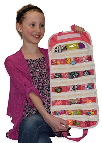 EasyView Toy Organizer  Legos Minifigures Compatible Shopkin Shopkins Compatible Storage Case Pink