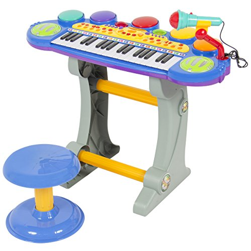 Best Choice Products Musical Kids Electronic Keyboard 37 Key Piano W Microphone Blue