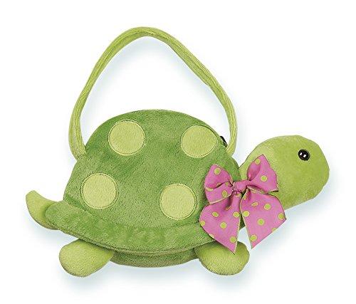 Bearington Pokey Carrysome Girls Plush Turtle Stuffed Animal Purse Handbag 7 inches