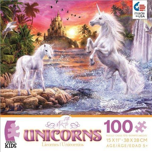 Unicorns Unicorn Waterfall Sunset Jigsaw Puzzle by Ceaco