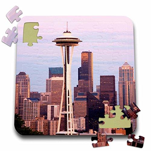 Danita Delimont - Seattle - WA Seattle Space Needle Mt Rainier - US48 JWI0957 - Jamie and Judy Wild - 10x10 Inch Puzzle pzl_95872_2