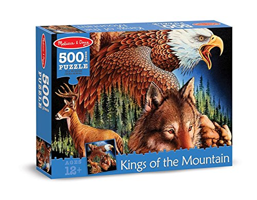 Melissa Doug 500-Piece King of the Mountain Wild Forest Animals Jigsaw Puzzle