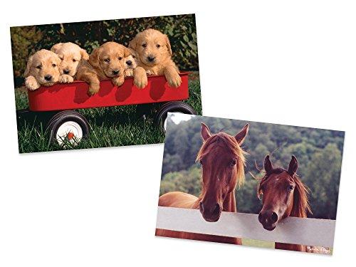Melissa Doug Animals Jigsaw Puzzles Set - Puppy Dog Wagon and Horse Corral