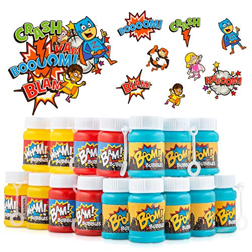 FAVONIR Superhero Bubbles Tattoos Party Favor Set - 24 x Kids Bubble Bottles 72 Temporary Tattoo Stickers for Kids - Hero Themed Party Favors for Birthday Classroom Parties Holiday Goodie Bag fillers