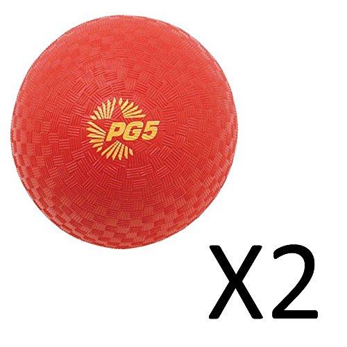 Champion Playground Gym Dodgeball Kickball 5 Nylon Wound 2-ply Red Ball 2Pack