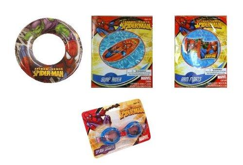 Spiderman Summer Fun Pool Set - Goggles Arm Floats Surf Rider Swim Raft Swim Ring