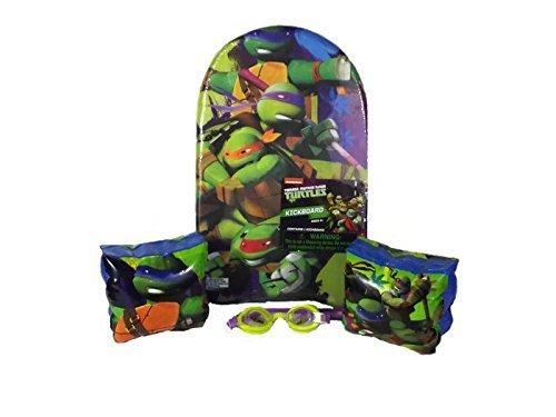 Teenage Mutant Ninja Turtles TMNT Swimming Pool Set 3 Items Includes1 Teenage Mutant Ninja Turtles Kickboard 1 Teenage Mutant Ninja Turtles Goggles and 1 set of Teenage Mutant Ninja Turtles Arm Floats