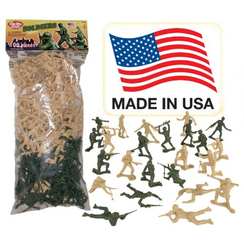 TimMee PLASTIC ARMY MEN Green vs Tan 100pc Toy Soldier Figures - Made in USA