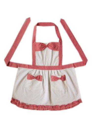 Red Plaid Kids Apron Bow Knot Girls Apron Japanese Style Apron