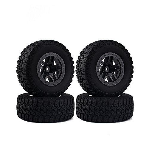 INJORA 4PCS Wheel Rim Tires Set for 110 RC Short-Course Truck Traxxas Slash HPI RC Model Car