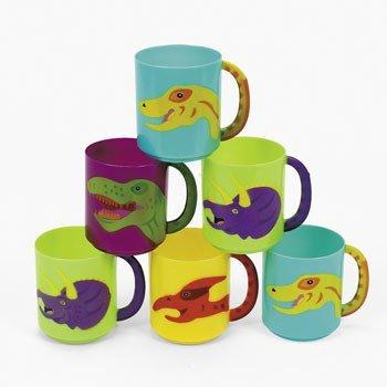 Dozen Plastic Dinosaur Mugs