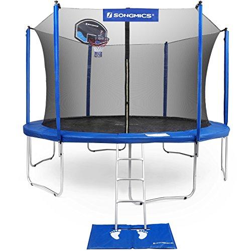 SONGMICS 15-Foot Trampoline with Enclosure Net Basketball Hoop Jumping Mat Safety Pad Ladder Outdoor Backyard Trampolines TÜV Certificated USTR15BU