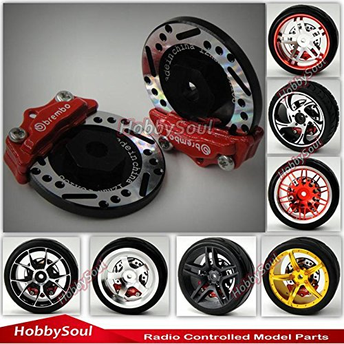 hobbysoul 2pcs RC 110 RC Alloy Brake Disc Caliper 12mm Hub for 110 RC Racing Model Car