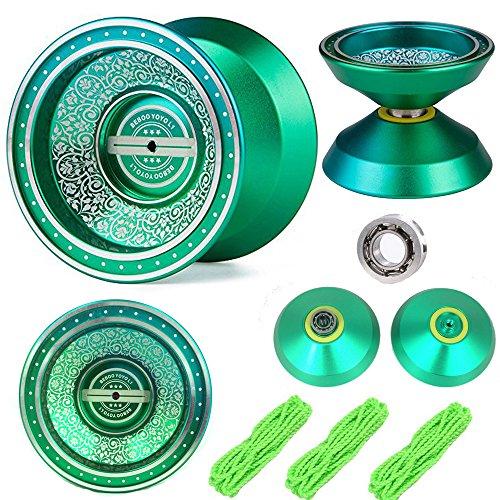 Green Unresponsive Yoyos - Pro YoYo Toy - Metal Alloy Aluminum Professional Yo Yo Bearing Reel - 3 Strings  YoYo Glove