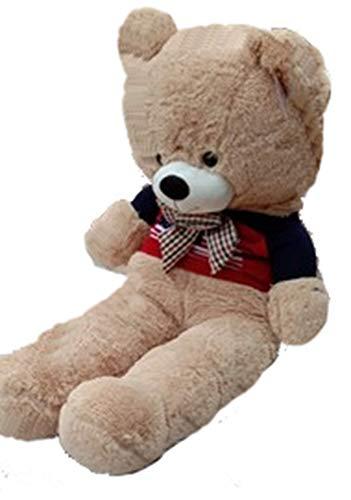 Giant Smiling Stuffed Teddy Bear Big Plush Toy Huggable Sweater Bear Dough Brown Furry Doll Huge Stuffed Animal Soft Cuddly Plush Tshirt 65 inch160 cm Light Brown Flag