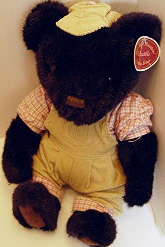 Blue Ridge Mountain Plush Black Teddy Bear Boy in Tan Corduroy Overalls 14 Inches Tall