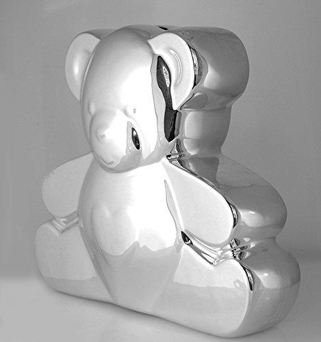 Silver Plated Ceramic Bank Teddy Bear