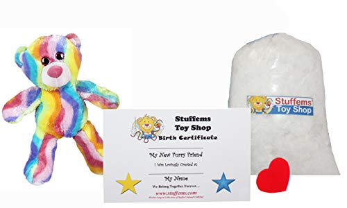 Teddy Mountain Make Your Own Stuffed Animal Mini 8 Inch Bubble Gum Bear Kit - No Sewing Required