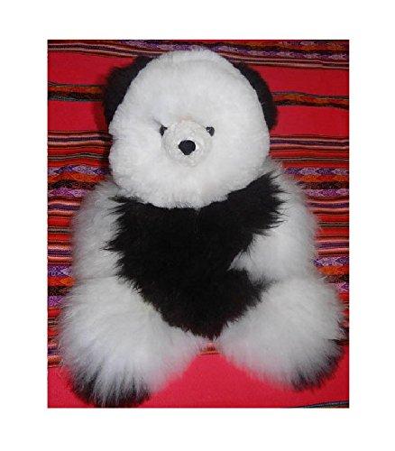 18 in Baby Alpaca Teddy Bear Black White Handmade by skilled craftsmen