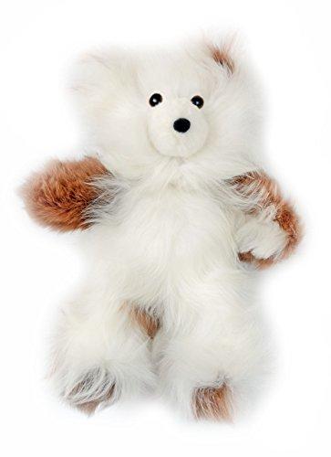 Baby Alpaca Fur Teddy Bear - Hand Made 10 Inch Multi - Honey  White