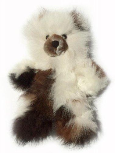 Baby Alpaca Fur Teddy Bear - Hand Made 10 Inch Multi - White  Dark Chocolate