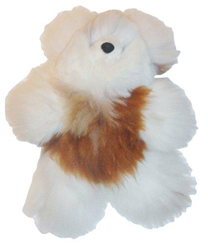 Beautiful White and Brown Baby Alpaca Teddy Bear Handmade in Peru