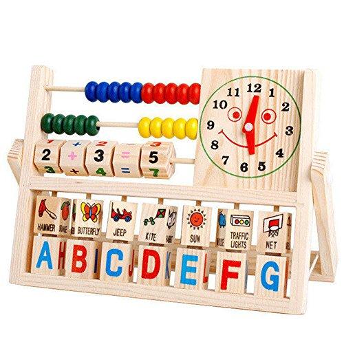 SANNYSIS Children Baby Kids Learning Developmental Versatile Flap Abacus Wooden Toys