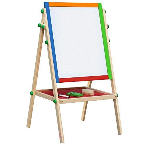 Yaheetech Kids Stand Easel Wooden 2 in 1 Blackboard Kids Learning Drawing Chalk Board283-346 x 154 x 154