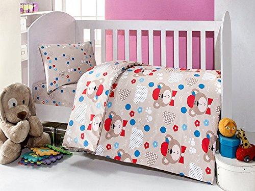Brielle Toddler DuvetQuilt Cover Set Bedding Set 100 Ranforce Cotton Turkish Cotton Comforter Cover Toddler Baby Bedding Sheet Set 3 Pieces 457 V2 beige red cute bear