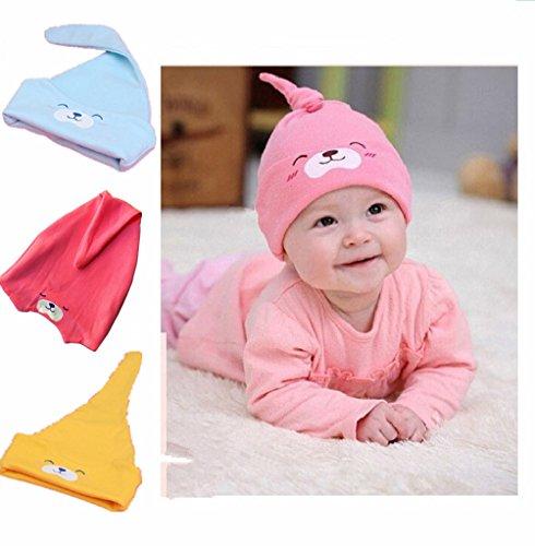 Zerowin Newborn Baby Toddler Cute Bear Cotton Soft Winter Warmer Beanie Hats Pack of 3