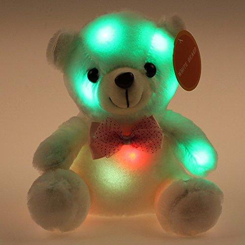 Creative Colorful LED Night Light Teddy Bear Stuffed Animal 8 inch White