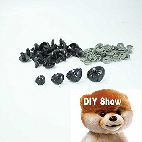 50pcs Black Plastic Noses for Teddy Bearpuppydollstuffed Animal Toy 1512mm by Plastic Safety Eyes