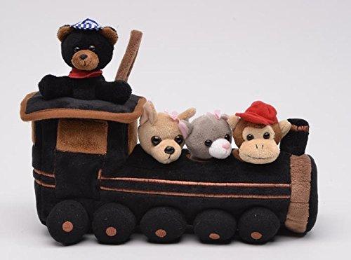 Unipak 12 Plush Train House with 4 Stuffed Animals - Conductor Black Bear Puppy Dog Kitten Monkey by Unipak