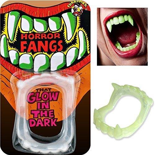 Glo Monster Teeth of Novelty Joke Gag Tricks for Party Bag Filler Favor or Prank etc by Pams