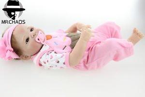 23 Handmade Full Body Silicone Reborn Baby Girl Doll Soft Newborn Bath Girl Toy