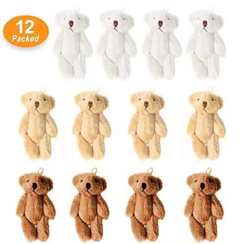 KUDES 12Pcs 6CM Mini Joint Teddy Bear Stuffed Animal Plush Toys Wedding Gift Box Doll Toy for Birthday Cake Wedding Decorations Party Favors Supplies Bag Charm DIY Accessory 12 PCS Bear