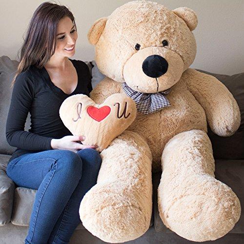 YESBEARS Giant Teddy Bear 5 Feet Tan Color Ultra-Soft Pillow Included