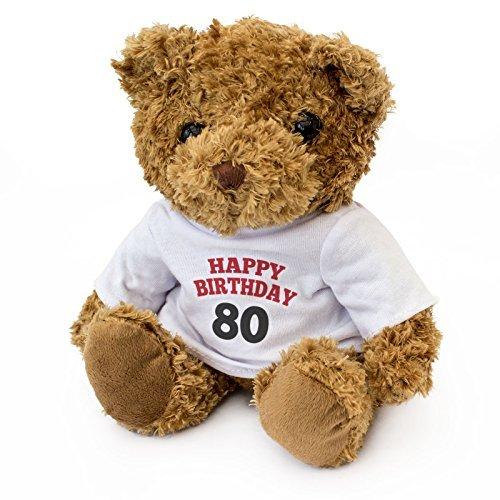 NEW - HAPPY BIRTHDAY 80 - Teddy Bear - Cute And Cuddly - 80th Gift Present by London Teddy Bears