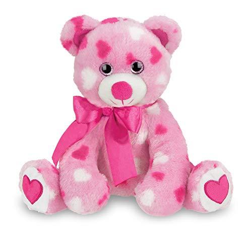 Bearington Sweetheart Pink Valentines Plush Stuffed Animal Teddy Bear with Hearts 85 inches